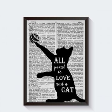 zwart wit katten poster all you need is love and a cat. Black Bedroom Furniture Sets. Home Design Ideas