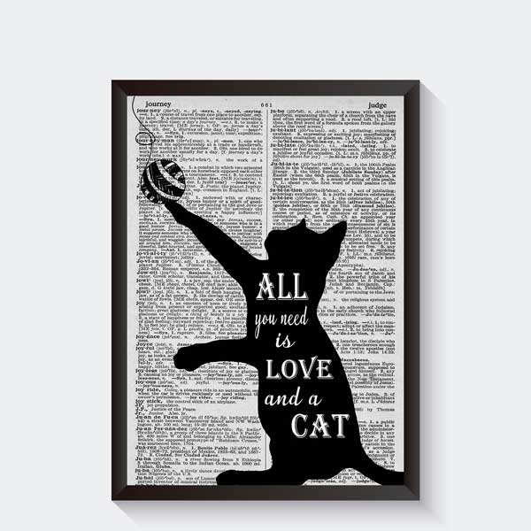zwart wit katten poster all you need is love and a cat quote en tekst posters becca 39 s studio. Black Bedroom Furniture Sets. Home Design Ideas